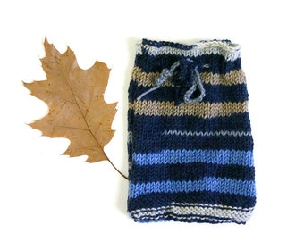 Blue Striped Knit Cozy- Denim Blue, Taupe- Stripes- Accessory Pouch- Drawstring- Hand Knit
