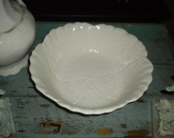 "White Large 12"" Japan Cabbage Bowl, Eclectic Decor, Shabby chic bowl"