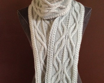 Seafoam Irish Cables Knitted Scarf