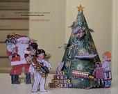 Vintage Santa Claus Christmas Tree Cut Outs 1925 Paper Dolls Digital Download Printable 3-D Christmas Craft / Christmas Paper Dolls Craft