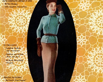 1950s Smart Crochet Vintage Women's Fashion Dress Skirt Slippers Hats Handbag DIY Instruction Pattern Booklet