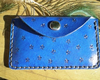 Vibrant blue leather handmade business card case wallet / credit cards