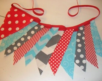 Fabric Banner, Cat In The Hat Inspired Banner, Dr. Suess Inspired Banner, Red Grey Aqua Blue Gray, Ready to Ship!!