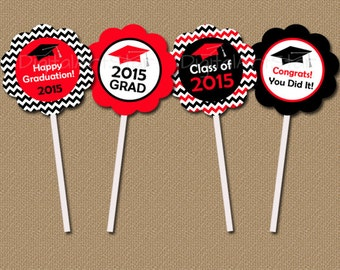 Red and Black Graduation Cupcake Toppers - DIY Printable Chevron Party Circles - Class of 2015 Graduation Cupcake Picks - INSTANT DOWNLOAD