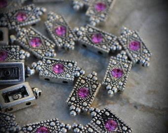 Genuine Silver Plated Swarovski Crystal 2 Hole Sliders G300 - Rose