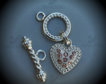 Genuine Large Silver Plated Swarovski Crystal Heart Toggle Clasp - Special Light Rose Champagne