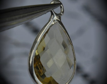 Silver Plated Bezel Brass Faceted Glass Tear Drop Pendant - Lemon