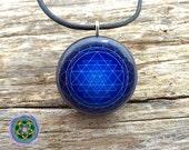 Blue Sri Yantra Mandala Orgone/Orgonite Tesla Pendant- EMF Blocker - Chakra Balancing - FREE Necklace - Hand Made