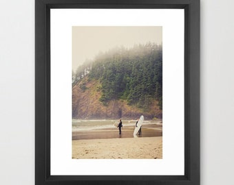 Surfers in Mist at Canon Beach in Ecola State Park, Oregon.  Surfing in fog fine art photography California surf northwest