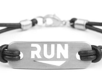 RUN - Running Leather Bracelet (unisex), Run Jewelry, Run Bracelet, Gift for Runner, Running Motivation, Run Inspiration, Running Gifts