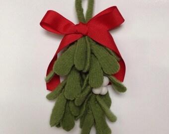 Wool Felt Mistletoe Sprig and Wool Berries - The Original