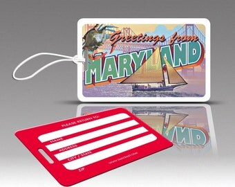 2 MARYLAND Bag Tags, Travel Luggage Tags, Suitcase Tags, Novelty Bag Tags, Plastic Luggage Tags, Cute Luggage Tags, Holiday Accessories