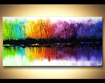 "Abstract Contemporary Landscape Acrylic Painting Heavy Palette Knife Colorful Acrylic Texture by Osnat - MADE-TO-ORDER - 48""x24"""