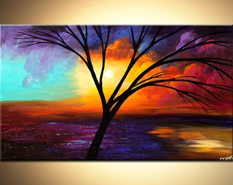 """Colorful Landscape Abstract Painting Acrylic Tree Painting 40"""" x 24"""" Purple, Blue, Reds by Osnat - MADE-TO-ORDER -"""