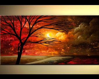 """Red Modern Landscape Abstract Tree Painting by Osnat - MADE-TO-ORDER - 48""""x24"""""""