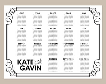 Modern Black Printable Wedding Seating Chart Poster - DIY, Classic, Flourish, Black and White