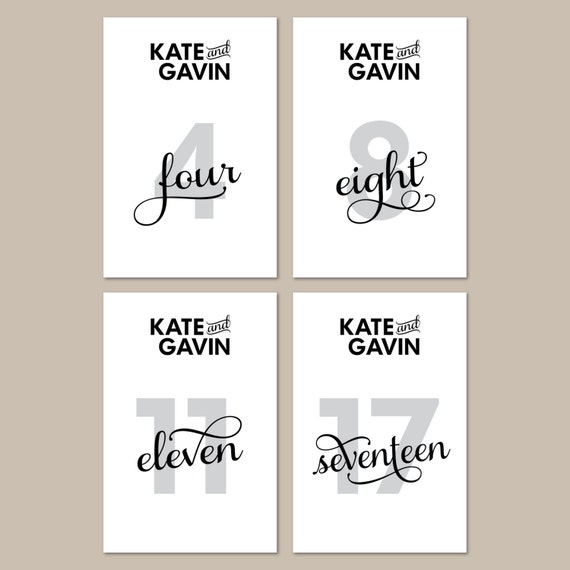 Modern Black Printable Wedding Table Number Signs - DIY, Classic, Flourish, Black and White