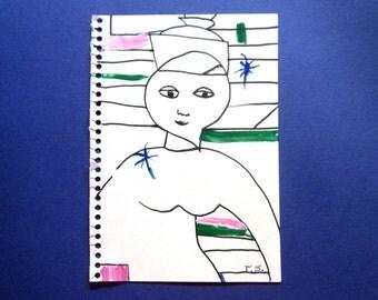 Drawing, abstract, Original, girl, Illustration, sweet, modern, primitive