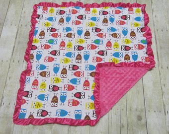 Minky and Coton Baby Blanket, Personalized baby blanket, Owl blanket