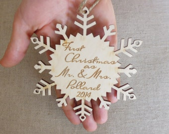Personalized Christmas Ornament Tree Decoration First Christmas as Mr and Mrs Newlyweds Gift Engraved Wooden Ornament Our First Christmas