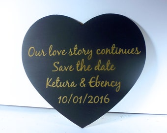 Personalized Engagement Photo Prop Sign Custom Engraved Heart Save the Date Photo Booth Prop Wood Wedding Sign