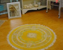 Aubusson Rug Round Vintage Roses Romantic Country French Cottage