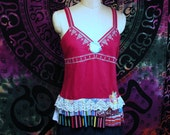 Clearance Sale Embroidered Camisole Size M Top Boho Gypsy Hippie Upcycled Upscaled Altered Clothing Eco Chic