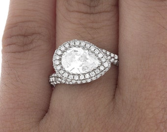 GIA Certified Diamond Engagement Ring 2.50 Carat Pear Shape 18K White Gold