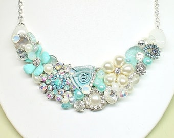 Aqua Bib Necklace- Aqua Blue Necklace- Blue Statement necklace- Sea Glass Blue Bib-Aqua Blue Bridal Bib- Seaglass Bridal Necklace- Aqua Bib