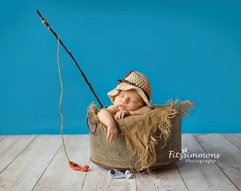 Fisherman Hat / Baby Boy Fisherman Set  / Newborn Fisherman Hat / Baby Fisherman Hat / Baby Fishing Hat / Newborn Fishing Hat / Photo Props