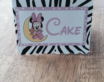Minnie Mouse Zebra Candy/Dessert Table Labels