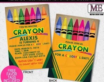 Crayola Crayon Birthday Invitation, Crayon invite,Crayon Party Invitation, Crayola Crayon, Invite, Invites, crayon invites, crayons invite