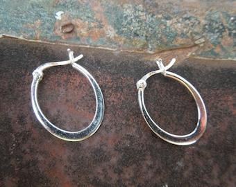 Sterling Silver Earrings Oval Hoops