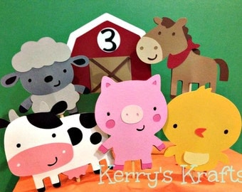 Barnyard Birthday Cupcake Toppers