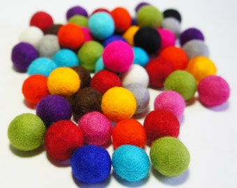 Felt Balls, Wool Ball, Felt Pom Pom, 2.3-2.5 cm, 100 pcs. Felt Beads, Design Your Own Colors Custom, Nursery, Handmade Supply Kids