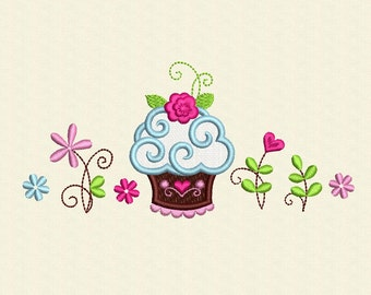 Cake and Flowers Set Applique Embroidery Designs Set for recipe-book, apron embroidery DE012
