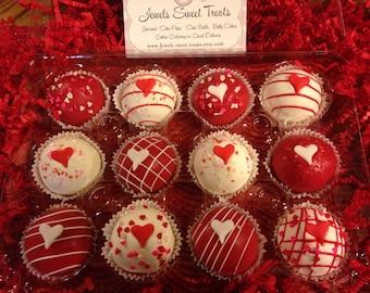 Valentine's Day Cake Balls or  Cake Pops  Gift  Box 1 Dozen  or any Occasion