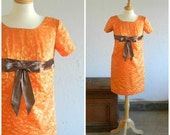 60's ORANGE PARTY DRESS - Holiday / Mad Men / Empire Waist / Satin / Classic / Retro / Size Medium