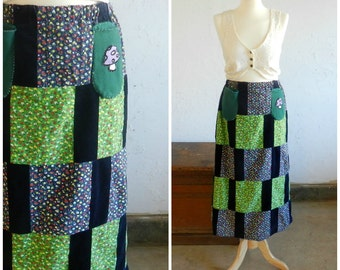 70's LONG HIPPIE SKIRT - Quilted / Velvet / Floral / Blue / Green / Red / Size Medium