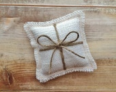 "5"" x 5"" Mini Off-White Burlap Ring Bearer Pillow w/ Jute Twine- Rustic/Country/Shabby Chic/Folk/Wedding"