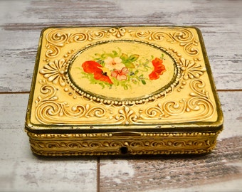 Antique Celluloid Jewelry Storage Victorian // Dresser Box Hand Painted Roses Trinket Holder // 1800s Collectible // Cottage Chic
