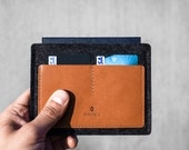 Passport Wallet / Cover / Holder - Vegetable Tanned Italian Leather and Merino Wool Felt, Smokey Grey / Tan
