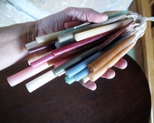 Large Lot 36 Hand Dipped Tapers, Small Diameter, Birthday, Centerpiece, Pale Natural Colors, on Braided Cotton Wick, Old Fashioned, Beeswax