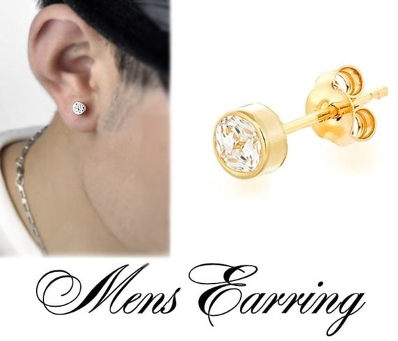 9a318822c Mens Diamond Stud Earring - 14K Gold Filled Single Post Earring for Men,  Guys - High Quality Clear Cubic Zirconia