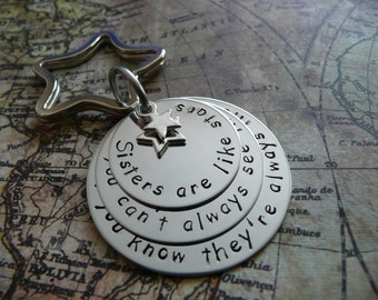 Sisters are like stars, Hand stamped metal keychain, stacked discs, personalise