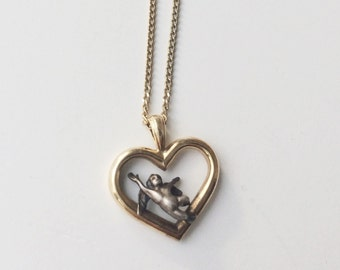 14k Gold & Sterling Angel Pendant Necklace, Gold Cherub Necklace, Gold Heart Pendant Necklace