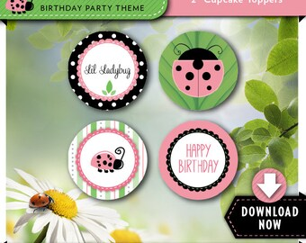 Ladybug Cupcake Toppers | Ladybug Birthday Party Cirlces | Printable | Instant Download