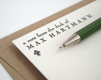 FLEUR Letterpress Stationery - Unique Personalized Note Cards - Green and White - Engraver