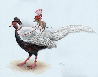 Lady Shrew, Art Print, Watercolor Art, Wall Art, Bedroom Decor, Kids Bedroom Art, Bird Art, Bird Print, Whimsical Art, Quirky Art Print