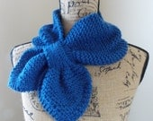 Blue Keyhole Scarf, blueberry scarflet, sky blue bow tie scarf, cadet blue knit ascot, pull thru scarf, cerulean pocket scarf, neck warmer